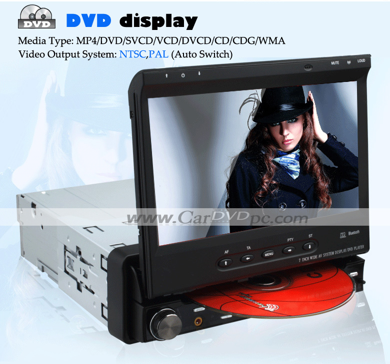 1 Din Car DVD Player In Dash Head Unit Stereo with 7 Inch Digital Detachable Touchscreen TV Radio Bluetooth
