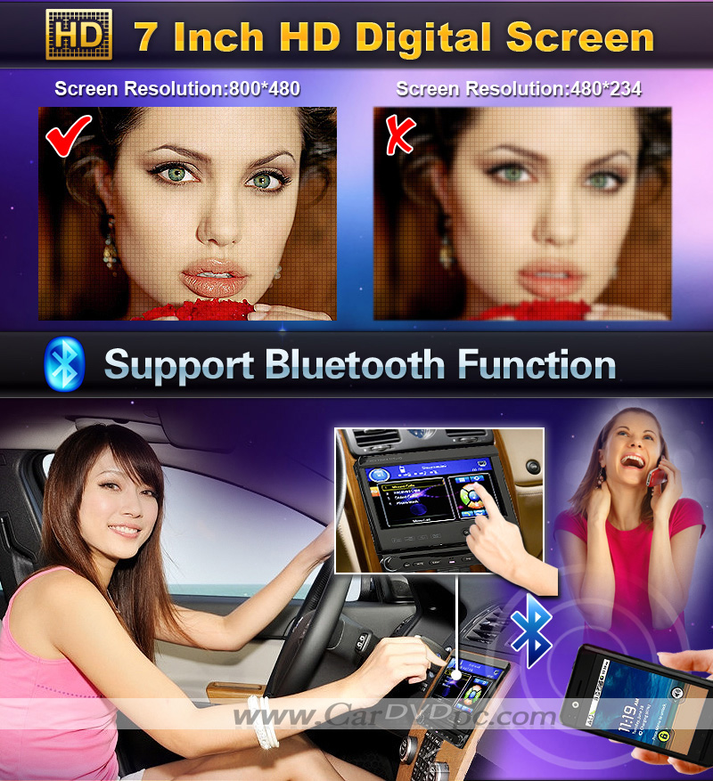 1 Din Car DVD Player Stereo 7 Inch Digital Touchscreen Detachable Face Bluetooth TV iPod RDS Radio