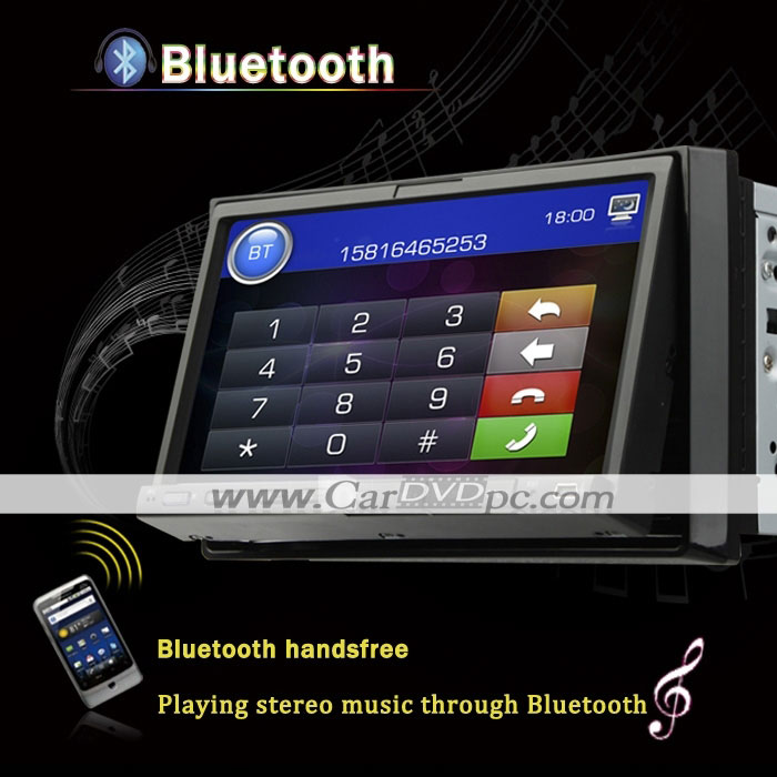 GPS Navigation Car DVD Player 2 Din Auto CD Stereo with 7 Inch Touchscreen iPod Bluetooth RDS Radio TV