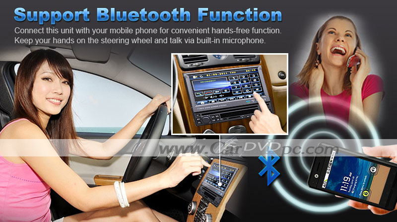 1 Din Car DVD Player Head Unit In Dash Car Stereo with 7 Inch Detachable Digital Touchscreen, Radio, TV, Bluetooth