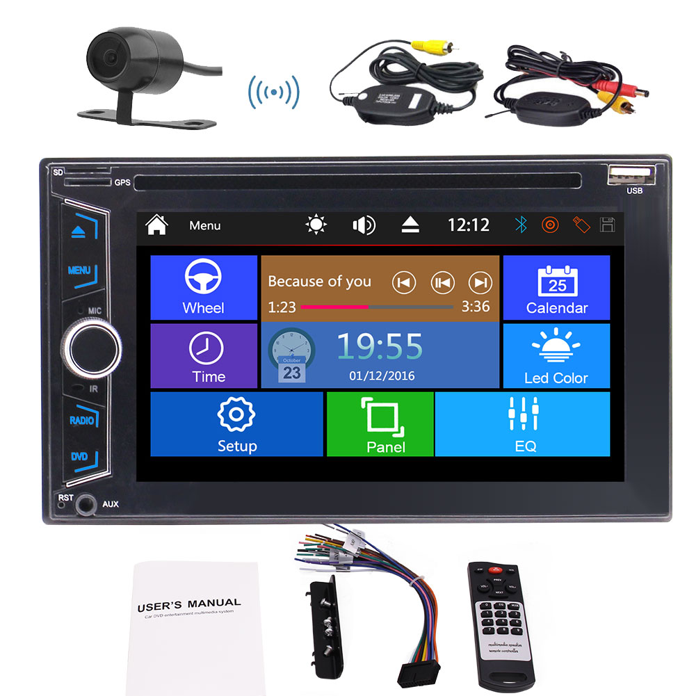Package Contents: 1 x Car DVD Player, 1 x Remote Control, 1 x Power Cable,  1 x English User Manual, 1 x Install Bracket