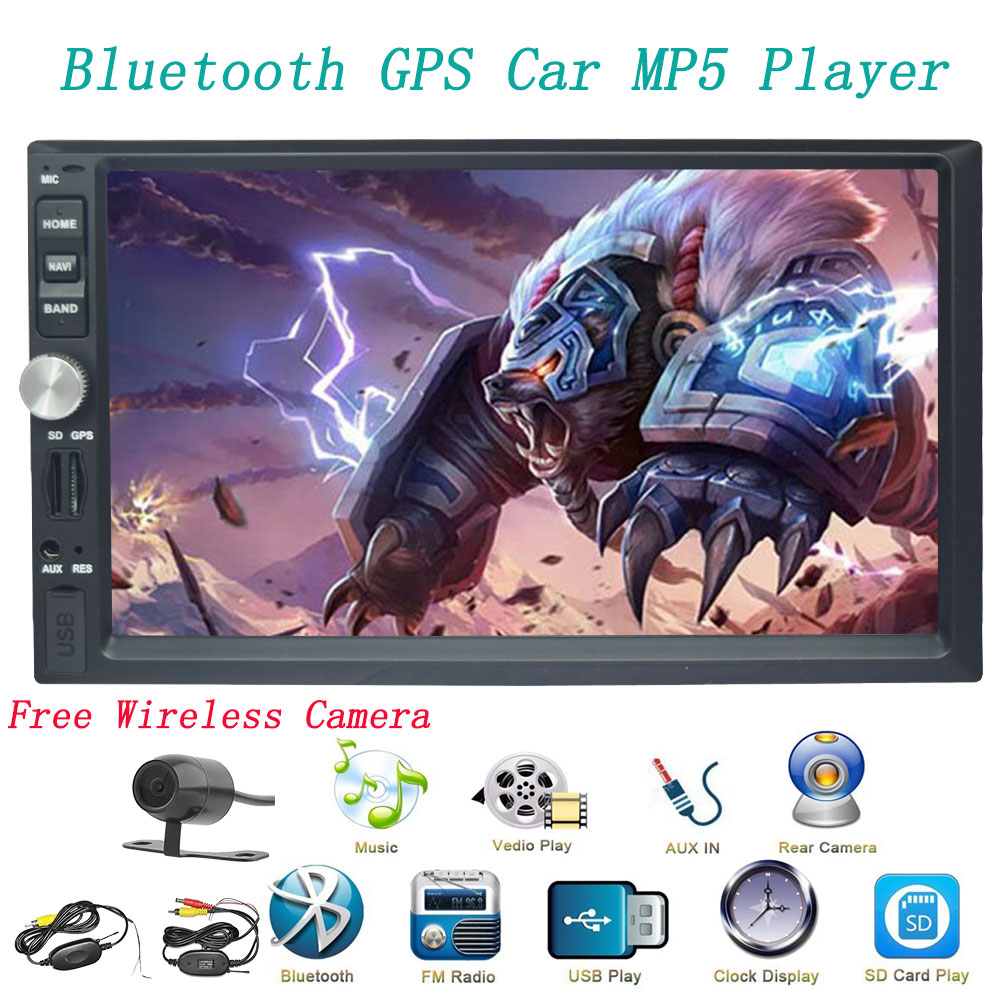 7'' Car stereo Bluetooth Doubel Din Head Unit Car Stereo MP5 player Car  Radio audio GPS Navigation Mirror Link FM AM USB/TF